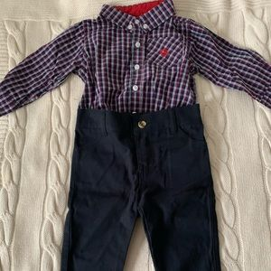Andy & Evan Shirtzie Flannel Bodysuit & Pants Set